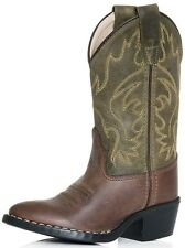Boy's Youth Old West Olive/Brown Carona Calf Leather Western Style Cowboy Boots
