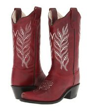 Kids Red Leather Cowboy Boots