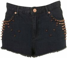 Topshop Black Denim Gold Spike Stud Hotpants Shorts BNWT UK 10 28W