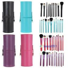12pcs Pro Cosmetic Makeup Brush Set Make up Tool + Leather Cup Holder Kits