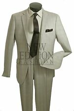 Vittorio St Angelo Men's 1 Button Slim Fit Plaid Suit Style D61PHK Beige