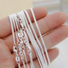 "10pcs 1.2MM 925 Sterling Silver Snake Chain Necklace for Jewelry Charms 16""-30"""