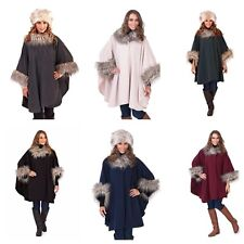 LADIES FAUX FUR PONCHO BLACK/GREY FLEECE FAUX FUR COLLAR AND CUFFS CAPE WRAP