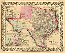 Old State Map - Texas with an Inset of Galveston Bay - Mitchell 1860 - 23 x 28