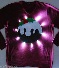 Christmas pudding Novelty ugly christmas jumper + lights Greatfor office parties