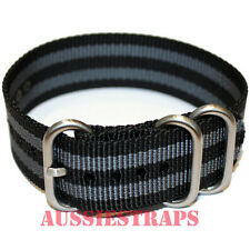 PREMIUM ZULU 3 Ring BLACK GREY 20mm 22mm 24mm Military Diver's watch strap band