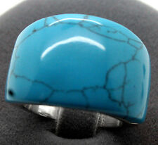 BLUE TURQUOISE GEMSTONE 100% SOLID .925 SILVER RING SZ 7/8/9/10 STAMPED 925
