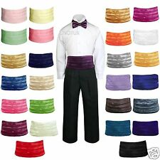 27 Color New 2pc Satin Vest + Cummerbund only Baby Toddler Kid Teen Formal Boy