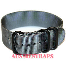PREMIUM ZULU® PVD 3 Ring GREY Military Diver's watch strap band Heavy Duty