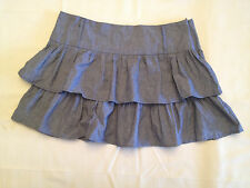 NEW My Lola A&G Tiered Ruffle Mini Denim Skirt SK3084 Heather Blue Medium