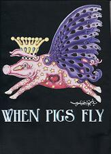 """WHEN PIGS FLY"" DOG 100% COTTON T-SHIRT NEW ORLEANS SAINTS, Jamie Hayes"