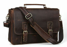 "Men's Vintage Real Leather Shoulder Messenger Bag 15"" Laptop Briefcase Crossbody"