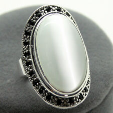 RARE WHITE OPAL 100% SOLID .925 SILVER RING SZ 7/8/9/10 STAMPED 925