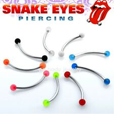 "16GA~ 5/8"" 316L Surgical Steel 3mm UV balls Curved Barbell ""Snake-Eyes"" Piercing"