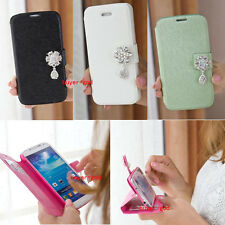 Bling Crystal Leather Wallet Flip Case Cover for Samsung Galaxy Note II 2 N7100