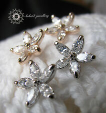 Flower Stud Earring/Crystal/Clear/18K White/Rose Gold Plated/RGE222