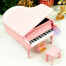 Wooden Piano Music Boxes from Sankyo Movement Play more than 20 Melodys (Pink)