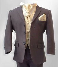 Boys Formal 5 Piece Grey & Gold Page Boy Wedding Suit Age 6 Months to 15 Years