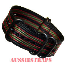 PREMIUM ZULU PVD 5 Ring BLACK KHAKI RED BOND Military Diver's watch strap band