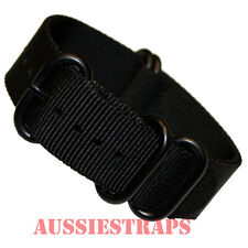 PREMIUM ZULU® PVD 5 Ring BLACK 20mm,22mm,24mm Military Diver's watch strap band