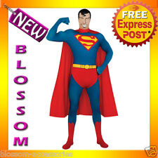 C825 Licensed Superman 2nd Skin Suit Zentai Halloween Fancy Dress Adult Costume