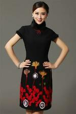 Chinese Women Lady Cheongsam Real Fur Collar and Shoulder Winter Short Dresses
