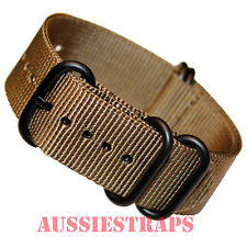 PREMIUM ZULU PVD 5 Ring OLIVE BROWN 20-22-24mm Military Diver's watch strap band