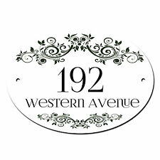 House Name Door Number, Plate/Plaque Sign. Personalised . Black or White