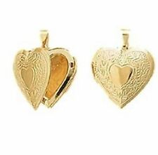 New 18ct Gold Filled Flower Pattern  Heart Locket  Pendant and Chain  24''