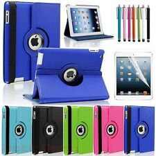 "For Apple 9.7"" iPad 2 3 4 360 Rotate Folio PU Leather Case Smart Cover Pen+Film"