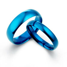 Yourword  BLUE Matching His & Her Wedding Titanium Promise Couple Rings Set