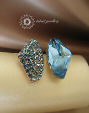 18K W/R GP Purple/Blue Crystal Asymmetric Stud Earring/RGE283/111