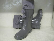 Ladies X1158 Funky Grey Shiny Wellies With Knitted Cuff