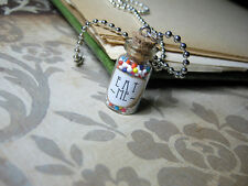 Eat Me 1ml Glass Vial Bottle Necklace Pendant - Alice in Wonderland Looking Glas