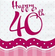 PERFECTLY PINK 40TH BIRTHDAY PARTY NAPKINS BANNER TABLE COVER BALLOONS CANDLES