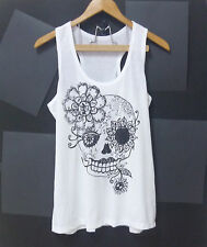 Skull tank top flower eye art Day of the Dead WHITE S/M/L/XL Women,Teen tshirt