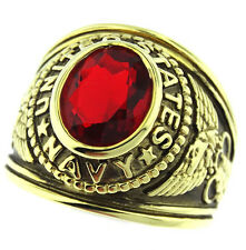 Red Stone US Navy Military Gold EP Mens Ring