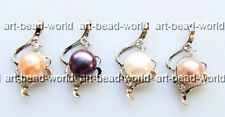 variations color 8-9mm freshwater pearl fire shape white gold plated pendant