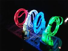 4 Colors LED 5Pin Micro USB Charger Cable for HTC One M7 S X Desire C V XL HD
