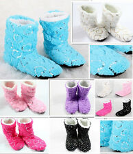 Fashions New Women's Glitter Shinning Christmas Shoes Sock Slippers Indoor Boots