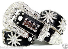 11. BHW Western Cowgirl Black Silver Sparkling Spur Rowel Concho Leather Belt