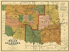 Old State Map - Oklahoma Indian Territory - Rand McNally 1892 - 23 x 30.91