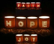 Christmas Candle Holders HOPE JOY FAITH Votive Holder + LED Flameless Candles