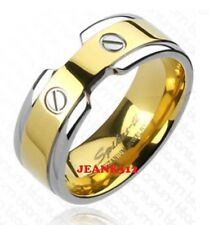 Mens Two Tone yellow Titanium Traditional Wedding Engagement Ring Band Size 9-13