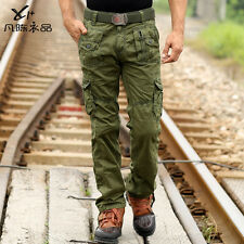 New Men's Pocket Pants Fashion Casual Combat Cargo Long Loose Jeans Trousers Hot