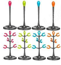 Funky Kitchen Towel Paper Roll Holder & 6 Cup Mug Tree Stand Racks 4 Colours