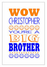 BIG BROTHER, BIG SISTER CARD PERSONALISED WITH THEIR NAME