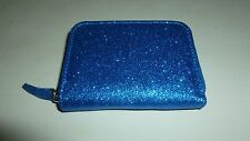 MUNDI BLUE OR SILVER SPARKLE GLITZ GLITTER ZIP AROUND MINI ORGANIZER ID WALLET