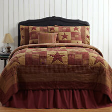 Red Brown Country Rustic Primitive Star Twin Queen Cal King Quilt Bedding Set
