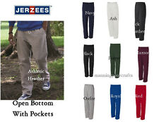 Jerzees Size S - 3XL Sweatpants Open Bottom With Pockets